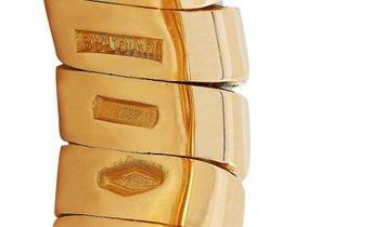 Bvlgari Bvlgari Spiga 18K Yellow Gold Peridot and Garnet Hearts Ring
