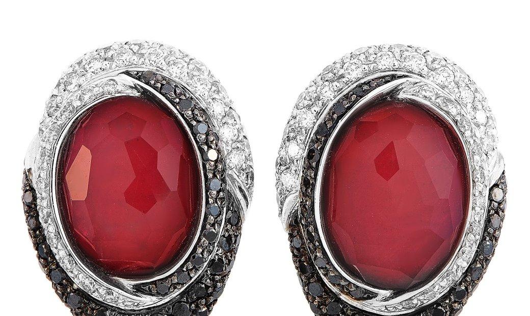 Oro Trend Oro Trend 18K White Gold 3.40 ct White/Black Diamond and Carnelian Omega Back Earrings