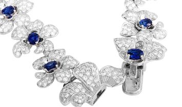 Carrera y Carrera Carrera y Carrera Orquídeas 18K White Gold 6.95 ct Diamond and Sapphire Necklace