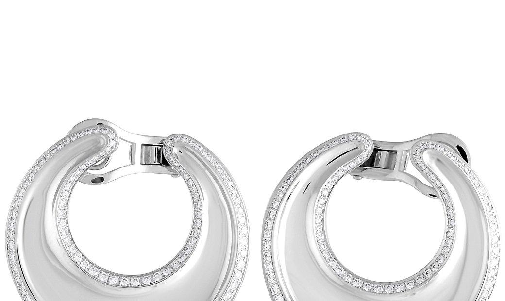 Chopard Chopard Imperiale 18K White Gold Diamond Hoop Omega Earrings
