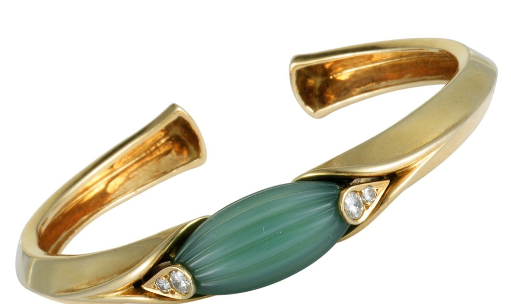 Van Cleef & Arpels Van Cleef & Arpels Vintage 18K Yellow Gold Diamond and Jade Bangle Bracelet