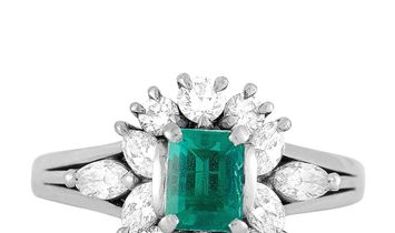 Mikimoto Mikimoto Platinum 0.66 ct Diamond and Emerald Ring