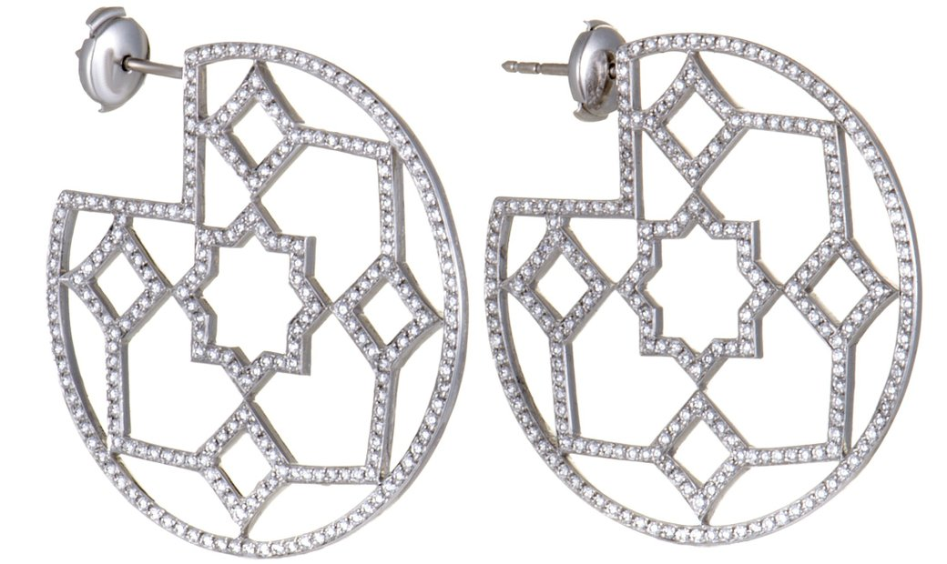Tiffany & Co. Tiffany & Co. Paloma Picasso Marrakesh Platinum Diamond Pave Hoop Earrings