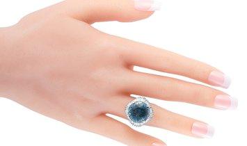 LB Exclusive LB Exclusive Platinum 1.47 ct Diamond and Aquamarine Ring