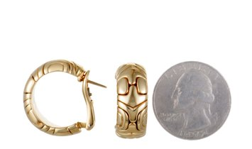 Bvlgari Bvlgari Alveare 18K Yellow Gold Huggie Earrings