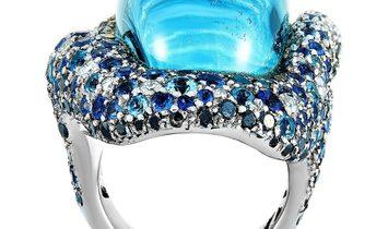 Vasari Vasari 18K White Gold ~2.50 ct Black/White Diamond, Sapphire and Topaz Cocktail Ring
