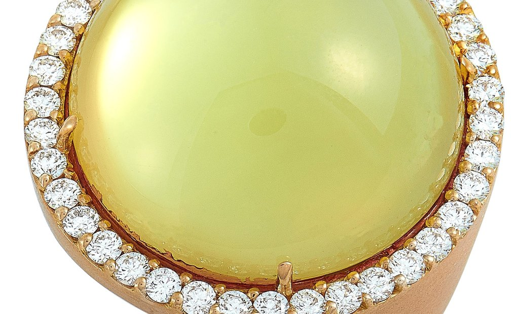 Roberto Coin Roberto Coin 18K Rose Gold Diamond and Lemon Quartz Ring