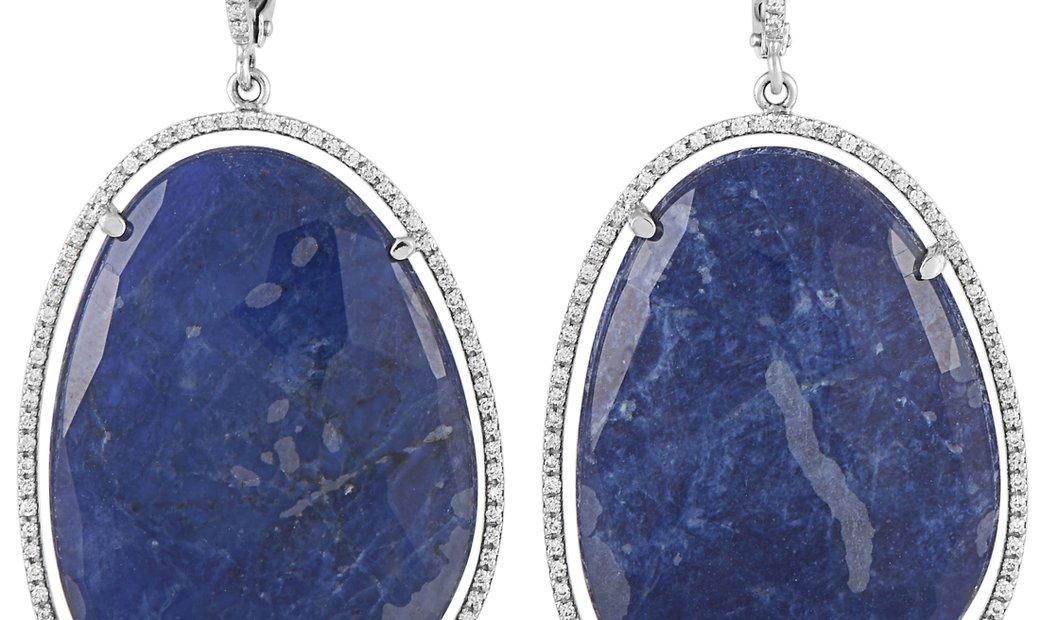 Zoccai Zoccai 18K White Gold 0.95 ct Diamond and Lapis Lazuli Dangle Earrings