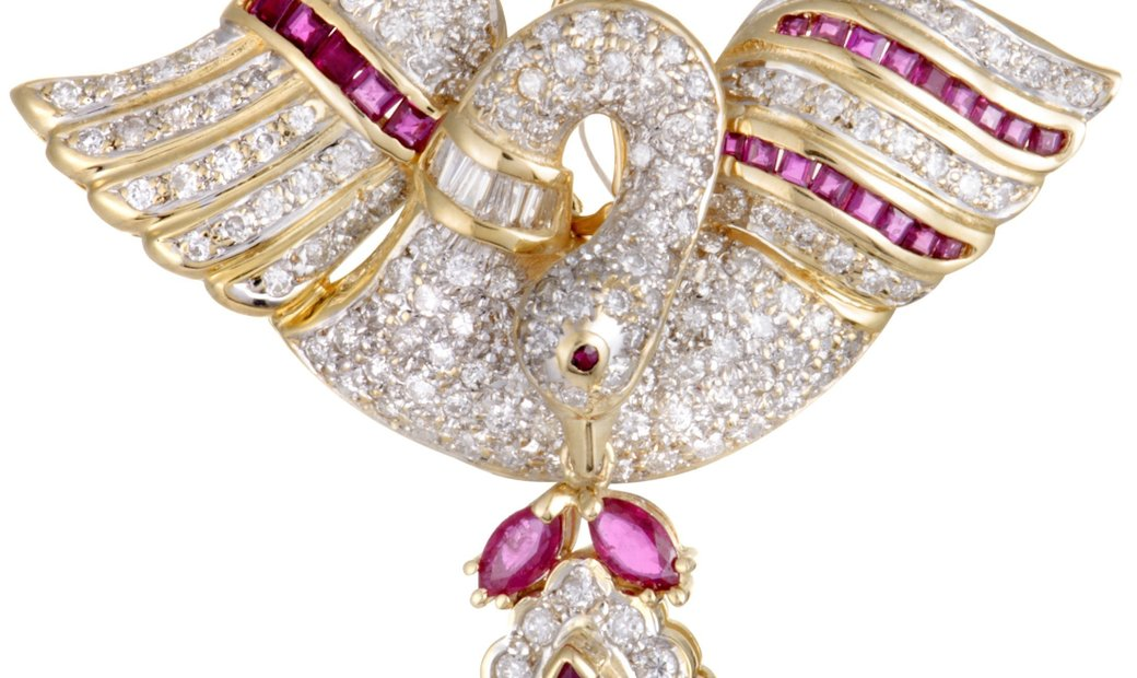 LB Exclusive LB Exclusive 18K Yellow Gold 1.75 ct Full Diamond and Ruby Swan Pendant/Brooch
