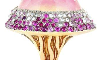 Vasari Vasari 18K Rose Gold ~2.00 ct Diamond, Ruby and Tourmaline Cocktail Ring