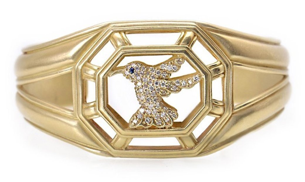 Non Branded 18K Yellow Gold Diamond Hummingbird Cuff