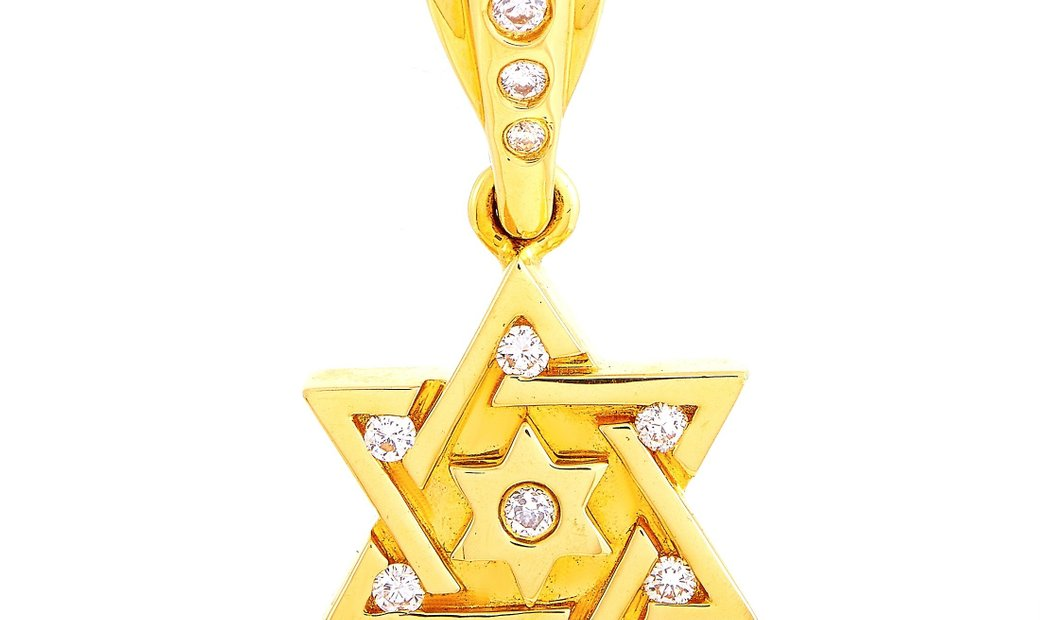 King Baby King Baby 18K Yellow Gold Diamond Star of David Pendant