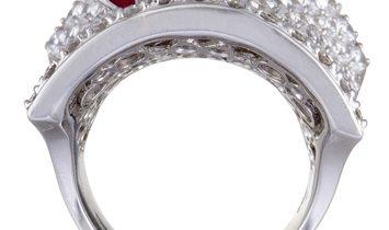 Stefan Hafner Stefan Hafner 18K White Gold Diamond Pave and Ruby Curved Ring