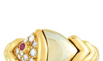 Bvlgari Bvlgari 18K Yellow and White Gold Diamond and Ruby Ring