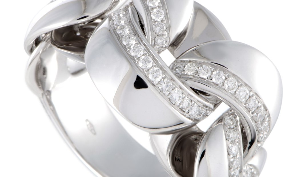 Chimento  Chimento Link 18K White Gold Diamond Pave Band Ring