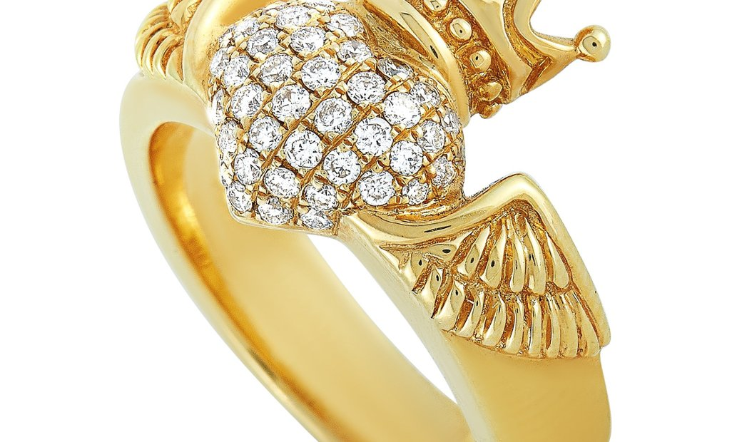 King Baby King Baby 18K Yellow Gold and Diamond Winged Heart Ring