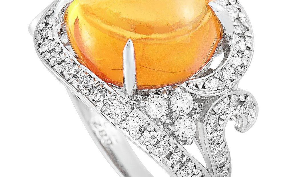 LB Exclusive LB Exclusive Platinum 0.63 ct Diamond and Opal Ring