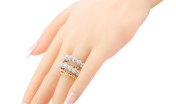LB Exclusive LB Exclusive 18K Yellow and White Gold ~3.90ct Diamond Beaded 6-Band Ring