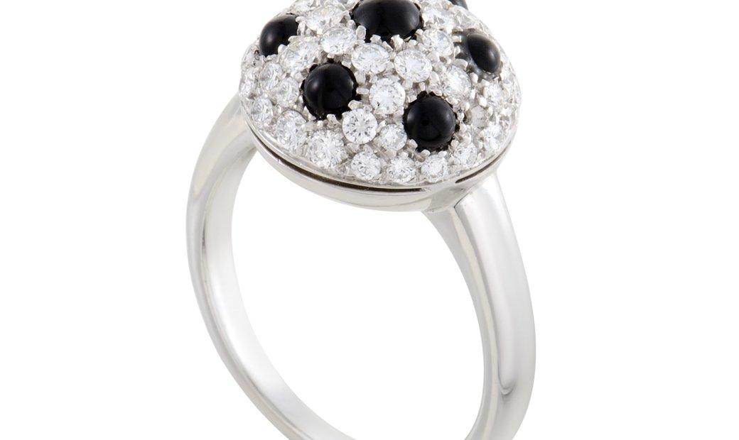 Picchiotti Picchiotti Womens 18K White Gold Diamond and Onyx Ring