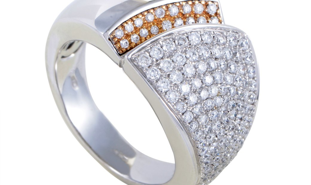 Chimento  Chimento Desiderio Womens 18K Gold Partial Diamond Pave Band Ring