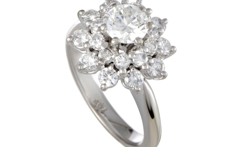 Non Branded Platinum Diamond Cluster Flower Ring