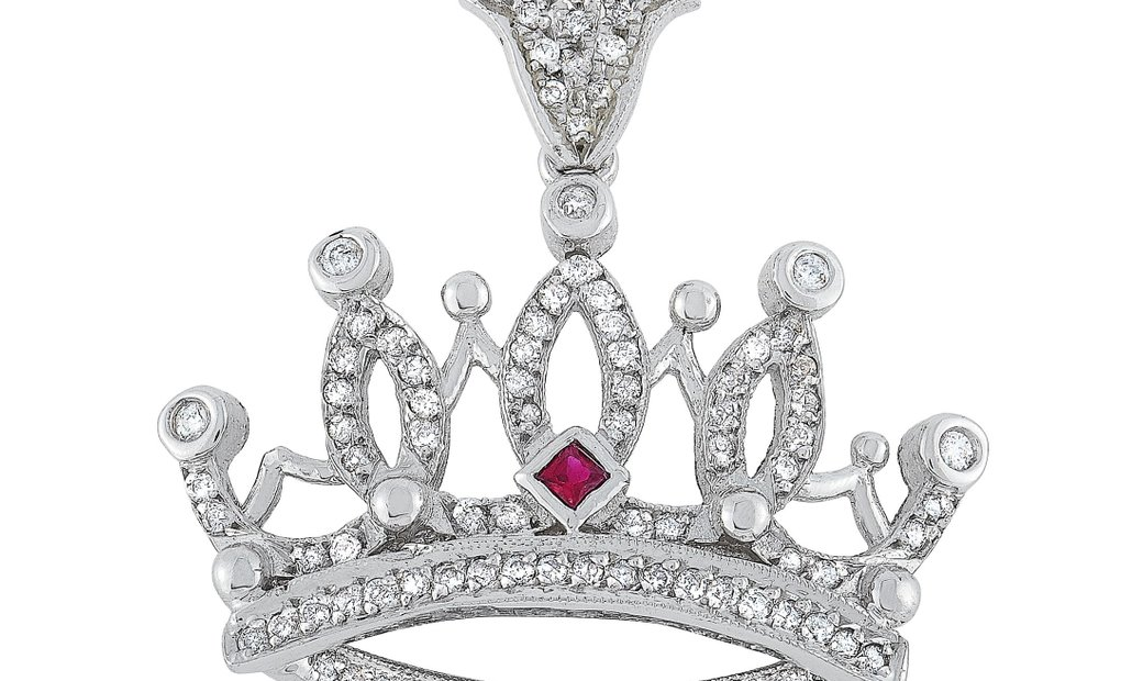 King Baby King Baby 18K White Gold Diamond and Ruby Small Crown Pendant Necklace