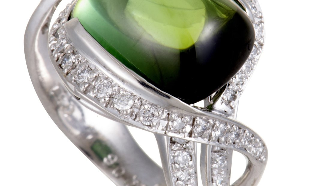 Non Branded Platinum Diamond and Green Tourmaline Cabochon Ring