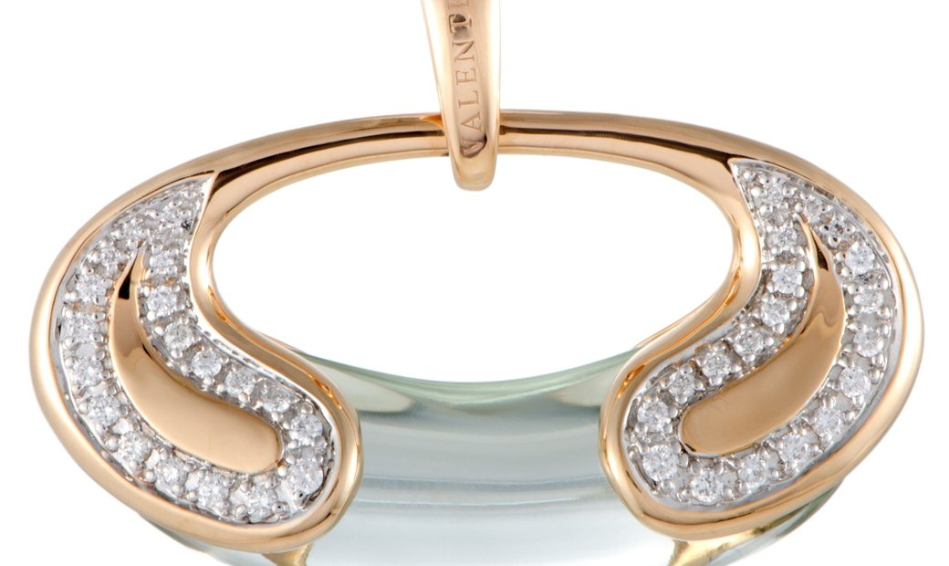 Valente Milano Valente Milano 18K Rose Gold Diamond and Green Quartz Oval Pendant
