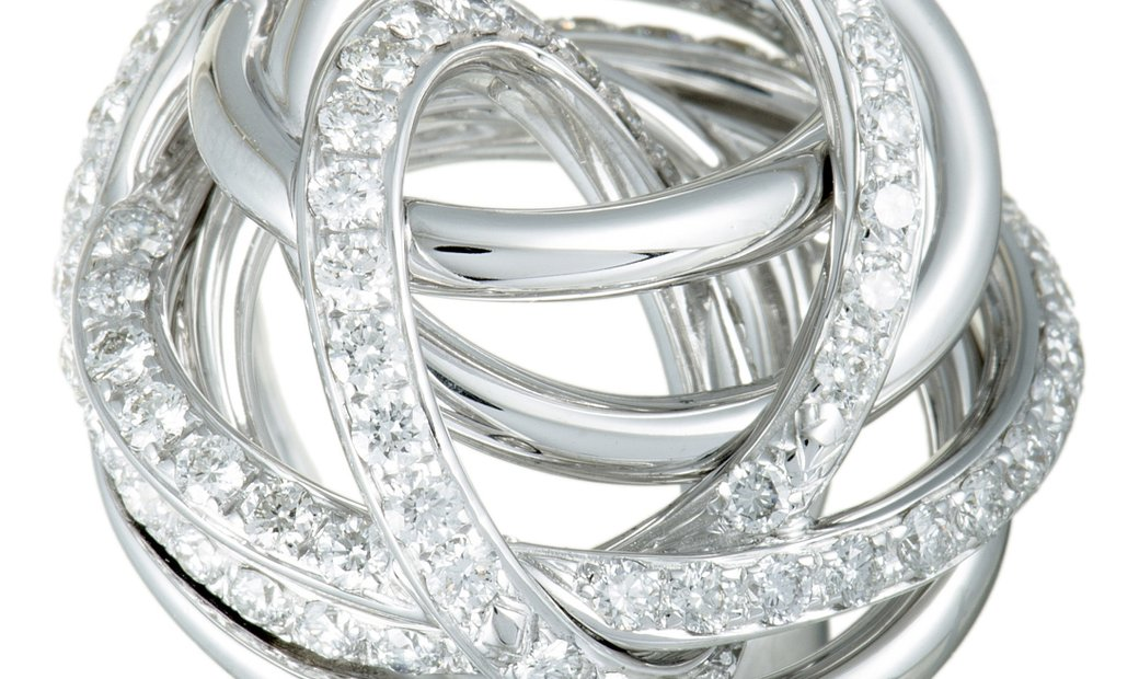 de Grisogono de Grisogono 18K White Gold Diamond Tangled Swirl Ring