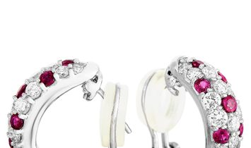LB Exclusive LB Exclusive 18K White Gold 1.54 ct Diamond and Ruby Earrings