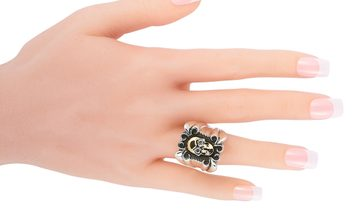 King Baby King Baby 18K Yellow Gold and Silver Diamond Large Skull Scroll Ring