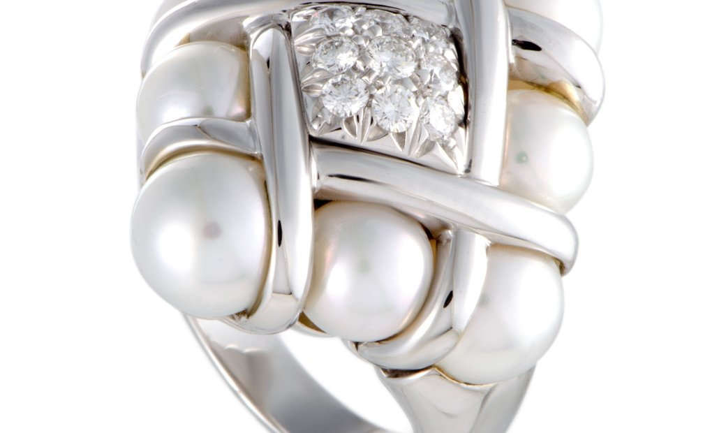 Mikimoto Mikimoto 18K White Gold Diamonds and 6.0-7.5mm 8 Akoya Pearls Ring