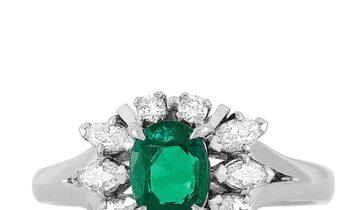 Mikimoto Mikimoto Platinum 0.50 ct Diamond and Emerald Ring