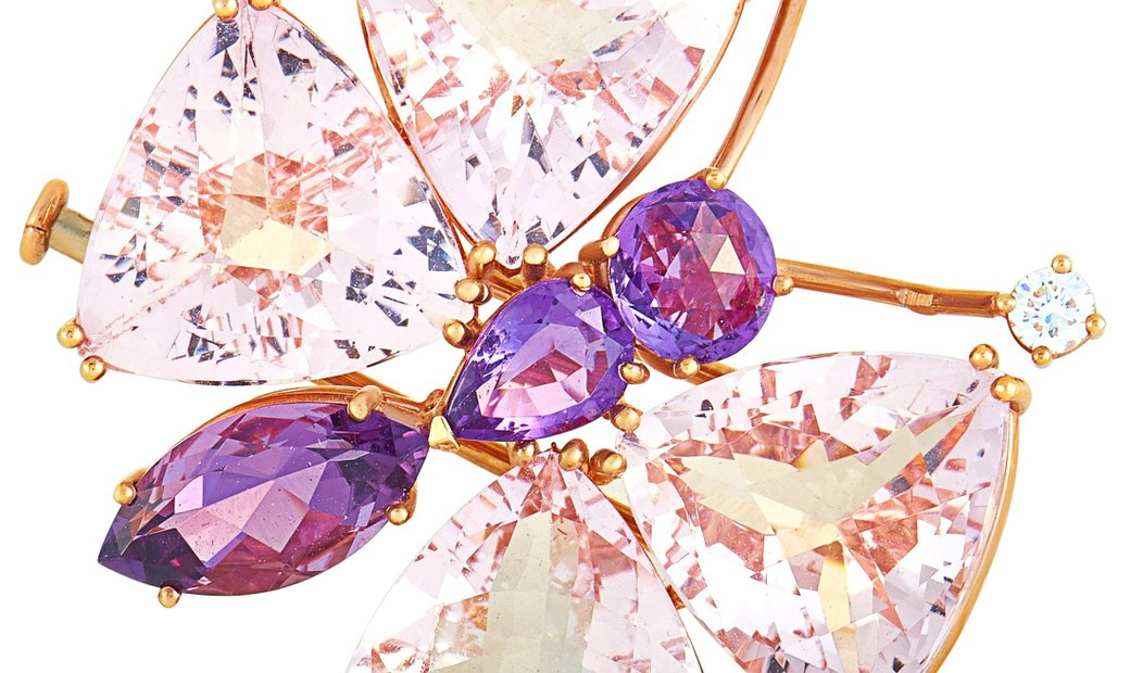 Chopard Chopard 18K Rose Gold Diamond, Amethyst and Morganite Butterfly Brooch