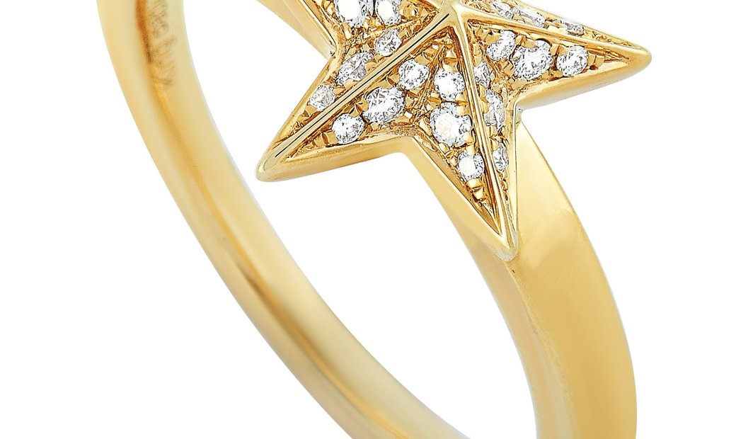 King Baby King Baby 18K Yellow Gold and Diamond Star Ring