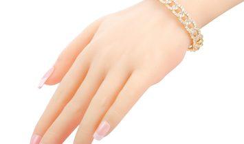 LB Exclusive LB Exclusive 18K Yellow Gold Diamond Chain Link Open Bangle Bracelet