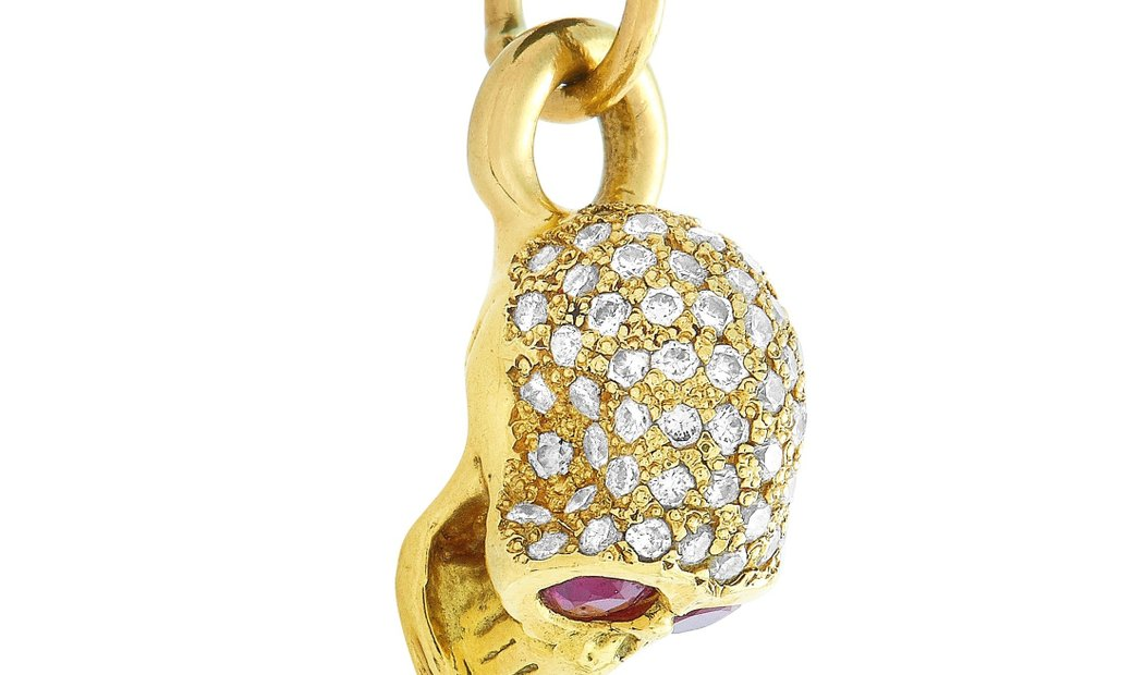 King Baby King Baby 18K Yellow Gold and Leather Diamond and Ruby Skull Pendant Necklace