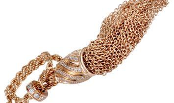 Damiani Damiani 18K Rose Gold Diamond Tassel and Chain Lariat Ring