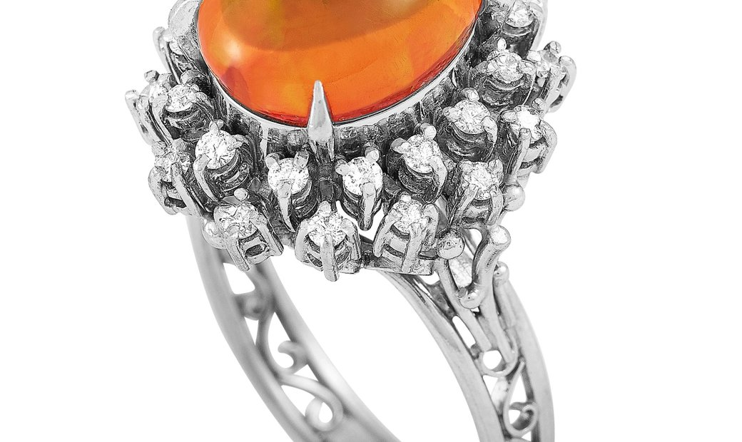 LB Exclusive LB Exclusive Platinum 0.43 ct Diamond and Opal Ring