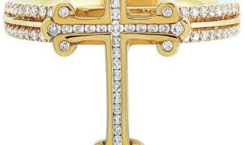 King Baby King Baby 18K Yellow Gold and Diamond Cross Ring