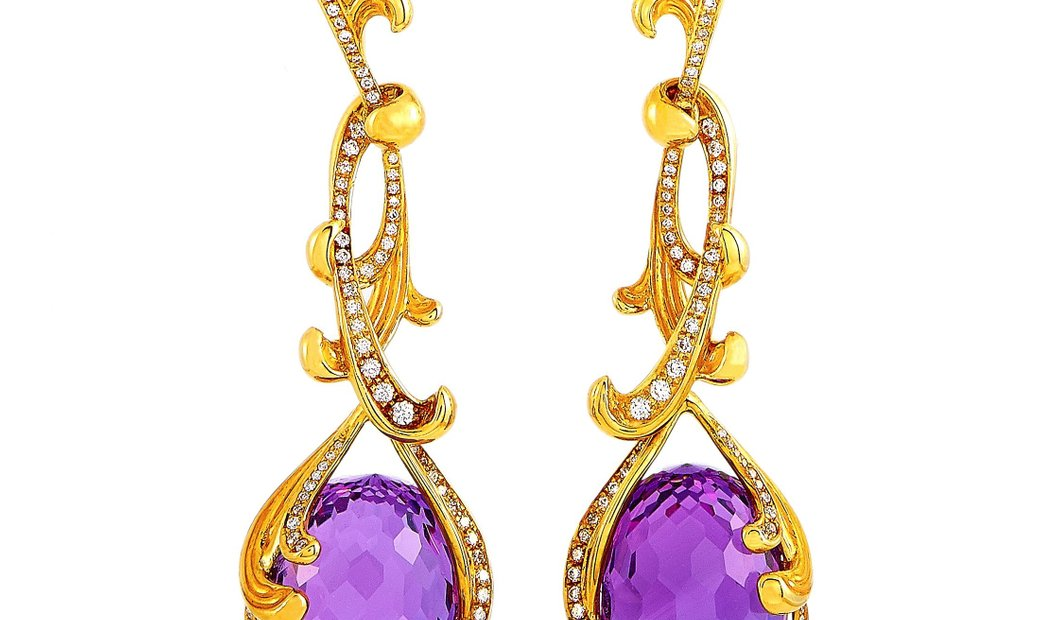 Carrera y Carrera Carrera y Carrera Origen 18K Yellow Gold 1.05 ct Diamond and Amethyst Earrings