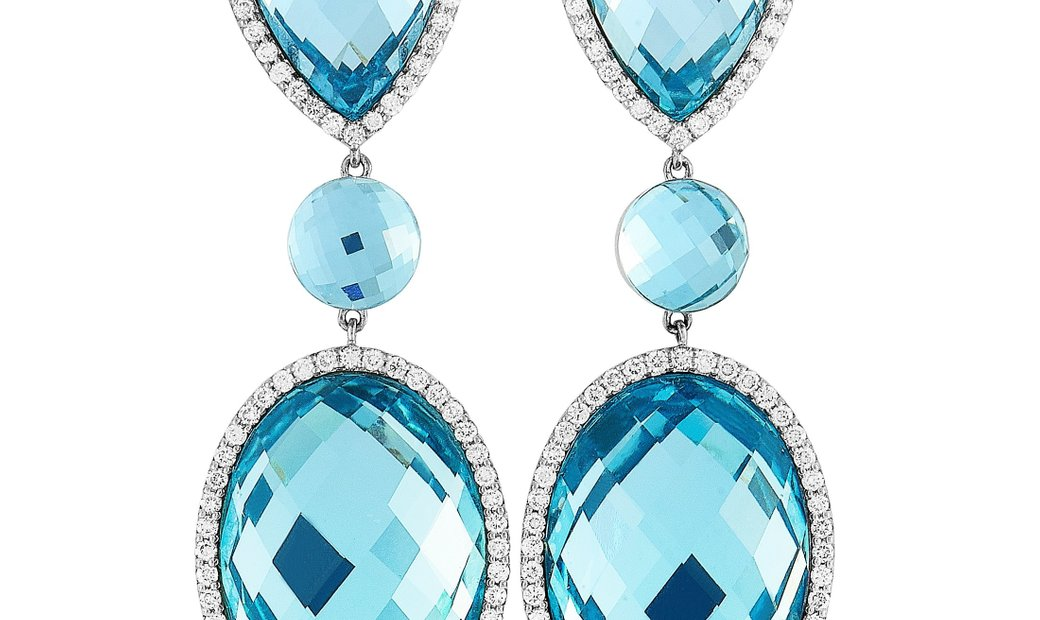 Roberto Coin Roberto Coin 18K White Gold Diamond Pave and Topaz Earrings