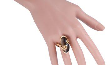 Giorgio Visconti Giorgio Visconti 18K Yellow Gold Diamond and Smokey Quartz Ring
