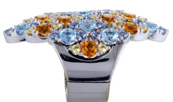 Pasquale Bruni Pasquale Bruni Ghirlanda 18K White Gold Sapphire, Topaz, and Citrine Ring