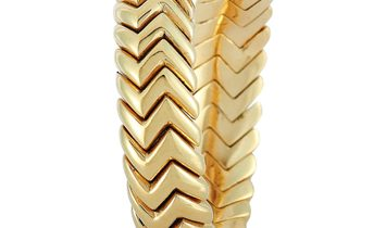 Bvlgari Bvlgari Spiga 18K Yellow Gold and Diamond Bypass Ring