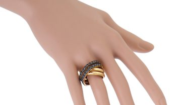 Non Branded Italian Collection 18K Rose Gold Black Diamond Pave Crossover Band Ring