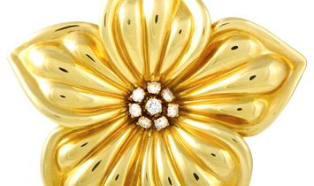 Van Cleef & Arpels Van Cleef & Arpels 18K Yellow Gold and 0.85 ct Diamond Flower Brooch