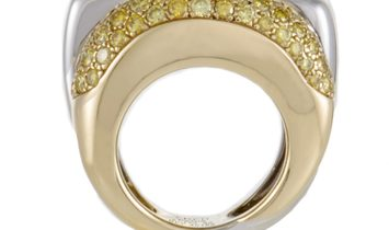 Fred of Paris Fred of Paris Success Womens 18K White and Yellow Gold Diamond Pave Ring