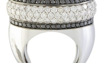 Luca Carati Luca Carati 18K White Gold White and Black Diamonds and White Quartz Large Oval Ring