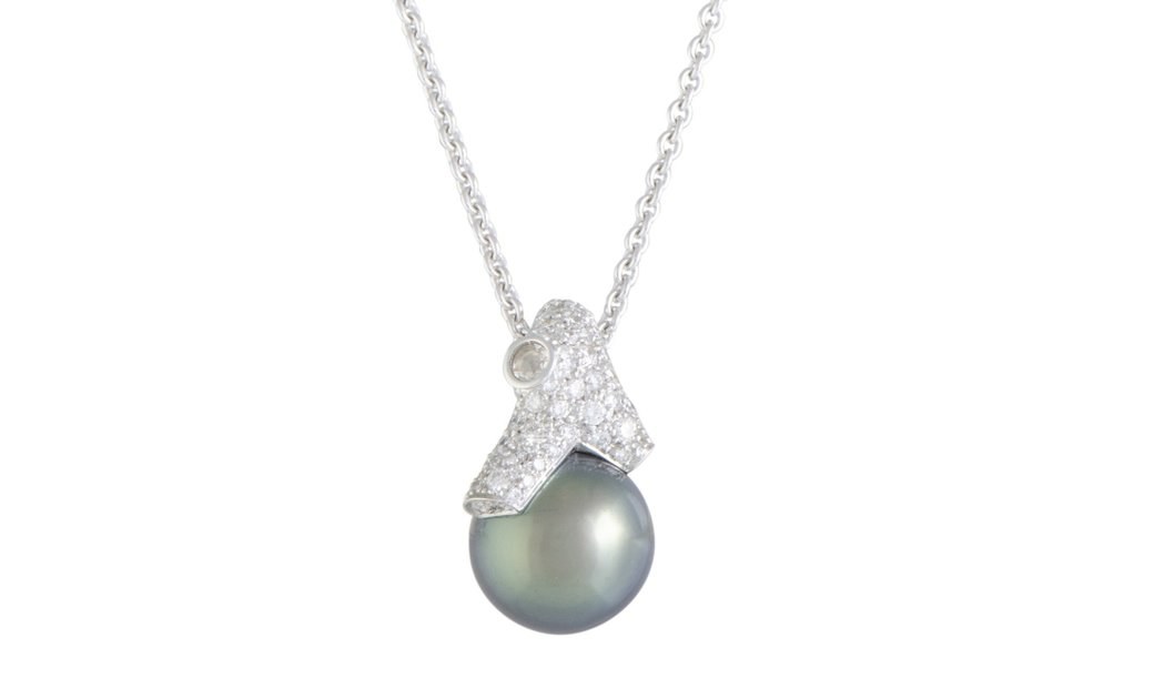 Mikimoto Mikimoto 18K White Gold Diamond and 12.0-13.0mm Black Pearl Pendant Necklace